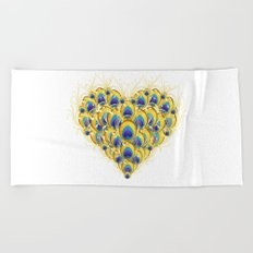 Peacock Heart Beach Towel