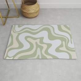 Liquid Swirl Contemporary Abstract Pattern in Light Sage Green Rug