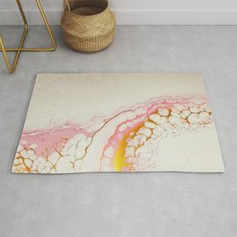 Pink and Gold Lace Rug