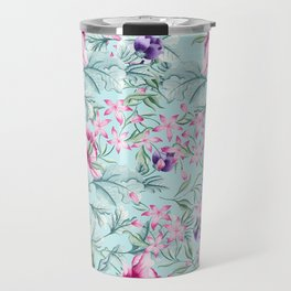 Floral Pattern Mint Travel Mug