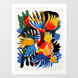 Tropical Wild Abstract Flowers of Love by Emmanuel Signorino Art Print