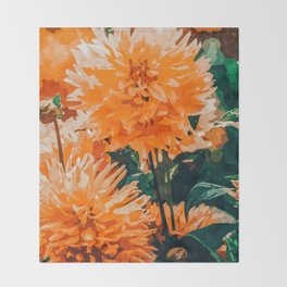 Coral Floral Throw Blanket