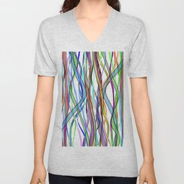 Multiplied Parallel Lines - Colored Unisex V-Neck