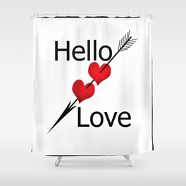 Hello love! White background . Shower Curtain