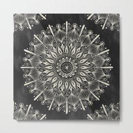 Vintage Mandala on black Metal Print