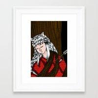 inuyasha Framed Art Prints featuring Inuyasha by nu boniglio