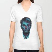 radiohead V-neck T-shirts featuring Thom Yorke (Radiohead) by charlotvanh