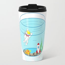 Space Fishbowl | Astronaut Fishbowl | Swimming Astronaut | Space in a Fishbowl | pulps of wood Travel Mug
