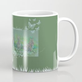 Easter bunnies on the meadow Coffee Mug