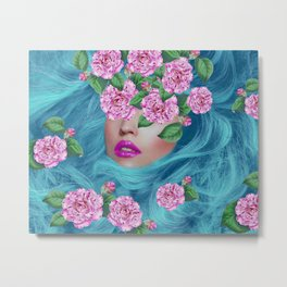 Lady with Camellias Metal Print
