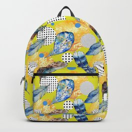 Abstract geometric hand painted blue yellow black polka dots feathers Backpack