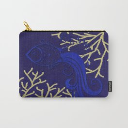 V4 Fish in Sea Moroccan Texture Design. Carry-All Pouch