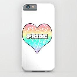 Pastel Pride Mosiac Filled Heart Graphic Design iPhone Case