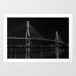 Busan Harbour Bridge | Busan | South Korea Black and White Art Print