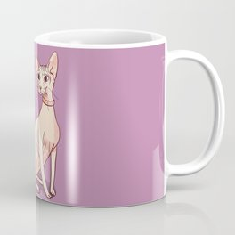 Nude Cat - Hairless Sphynx Kitty Wearing a Collar - Elegant - Wrinkles - Lilac Coffee Mug