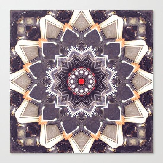 Abstract Gray Mandala Canvas Print