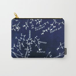 French July Star Maps in Deep Navy & Black, Astronomy, Constellation, Celestial Carry-All Pouch