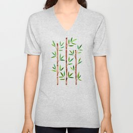 Bamboo Stems – Green Leaves Unisex V-Neck