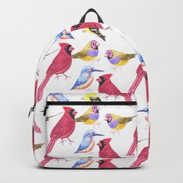 Watercolor Birds in triad color scheme- red, yellow, blue Backpack