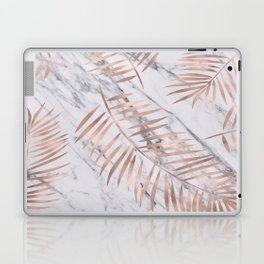Rose gold palm fronds on marble Laptop & iPad Skin