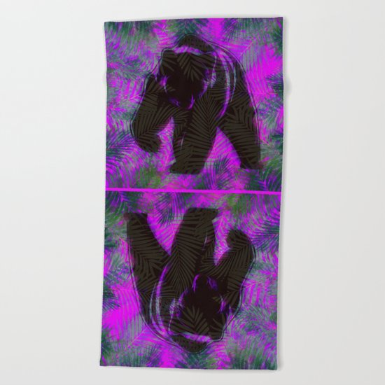 Bear with palm leaves Beach Towel