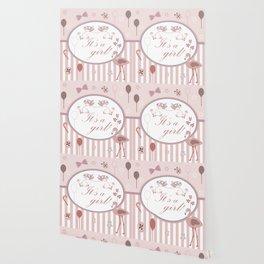 Cute Pink Flamingo Bird announces the arrival of a baby girl Wallpaper