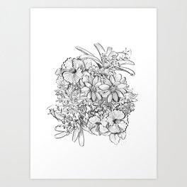 Tropical minimal bouquet_line art  Art Print