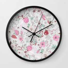 Mauve pink pastel green rustic floral gray stripes Wall Clock