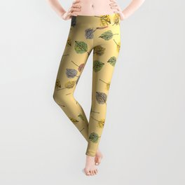 Colorado Aspen Tree Leaves Hand-painted Watercolors in Golden Autumn Shades on Butter Yellow Leggings