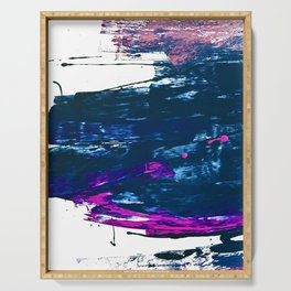 Curiosity: a vibrant minimal abstract mixed-media piece in blue and pink by Alyssa Hamilton Art Serving Tray