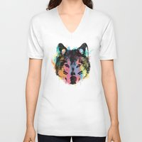 child V-neck T-shirts featuring Wolf Child by Zach Terrell