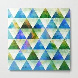 Modern Blue & Green Geometric Triangle Design Metal Print