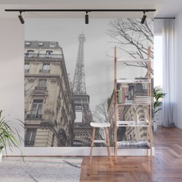 Paris streets, Eiffel tower, city skyline, industrial fine art photo, shabby chic Wall Mural