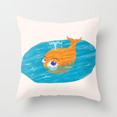 Orange Whale Playing in the Sea Throw Pillow