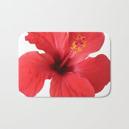 Scarlet Hibiscus Tropical Flower Vector Bath Mat