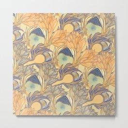 Art Nouveau Artichokes Gold Metal Print