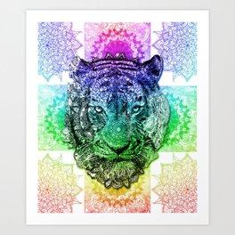 mandala tiger color Art Print