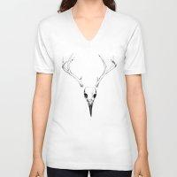 bones V-neck T-shirts featuring Bones by Josey Lee