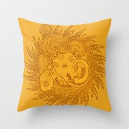 Ganesha Lineart Yellow Throw Pillow