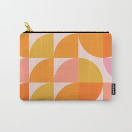 Mid Century Mod Geometry in Pink and Orange Carry-All Pouch