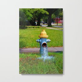 Fire Hydrant Gushing Water Metal Print