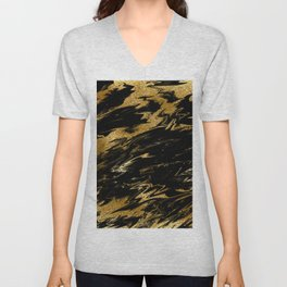 Luxury and sparkle gold glitter and black marble Unisex V-Neck