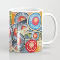 coasters Mugs featuring Urban Chestnut Collage by Jen Gotsch