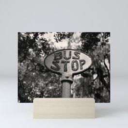 Old Bus Stop Sign in Savannah Georgia, Black and White Photography, Savannah Photo Print Mini Art Print