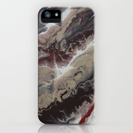 Neutral Black, Red and Brown Painting - Schism Abstract iPhone Case