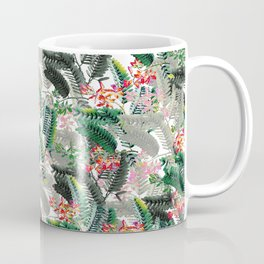 Tropical Leaves with Flowers Coffee Mug