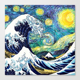 Starry Wave Night Canvas Print