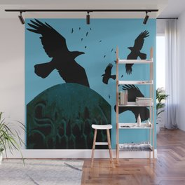 Sacred Gothic Text Gravestone With Crows and Ravens Wall Mural