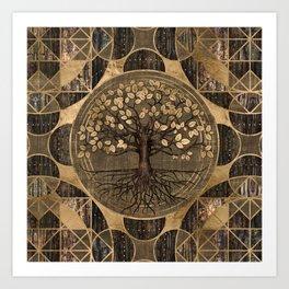 Tree of life - Yggdrasil - Wood and Gold Art Print