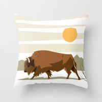 bison Throw Pillows featuring Bison by Emre Özbay